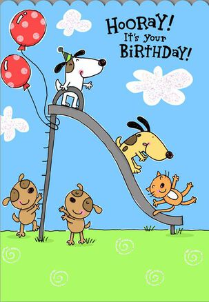 Dogs and Cat on Slide Birthday Card