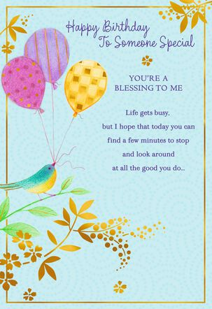 Bird Holding Balloons Blessing Birthday Card