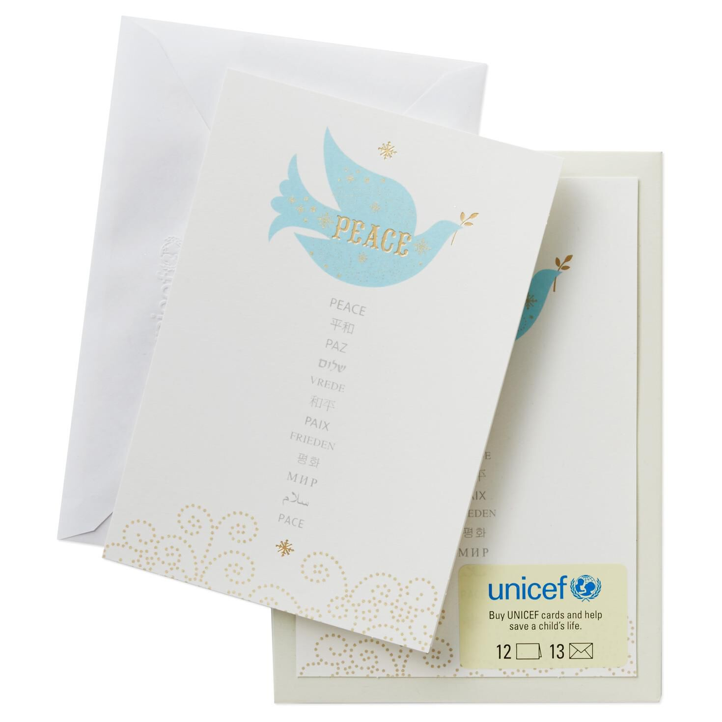 UNICEF Multilanguage Peace Dove Christmas Cards, Box of 12 - Boxed ...