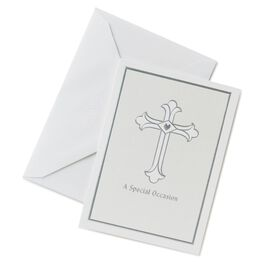 Silver Cross Invitations, Pack of 10, , large