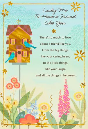 Birdhouse and Flowers Friendship Card