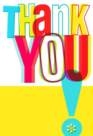 Bright Lettering and Exclamation Point Thank You Card