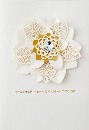 White and Gold Flower Meant To Be Anniversary Card for Wife