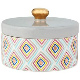 Haute Girls™ Geometric Lidded Ceramic Box, , large