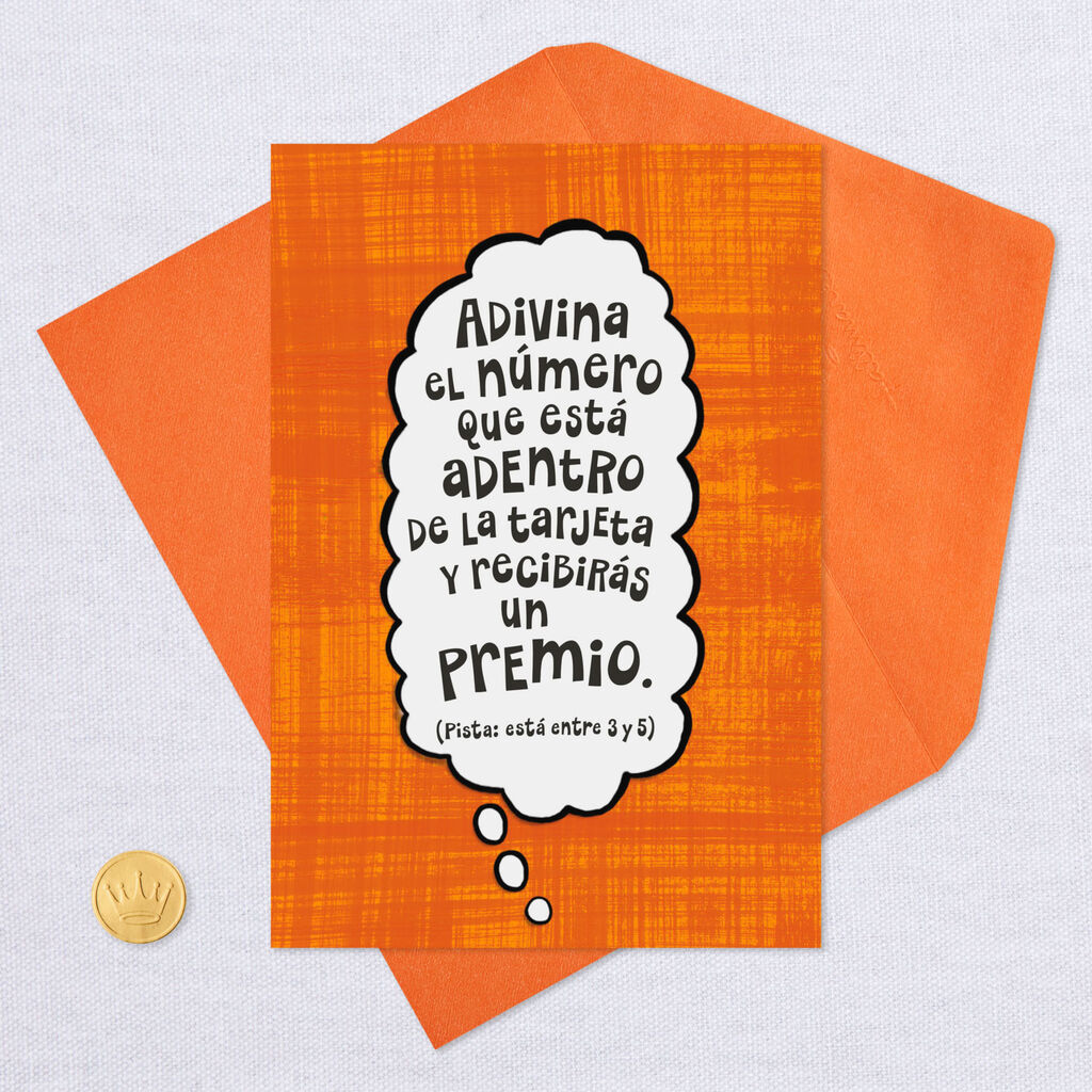 Guess The Number Funny Spanish Language Birthday Card