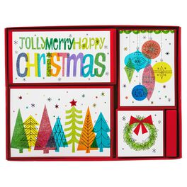 Vibrant Retro Christmas Cards, Assorted Box of 40, , large