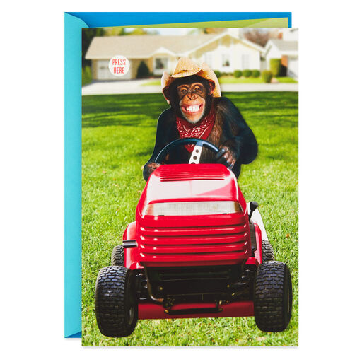 Mowing Animal Funny Musical Fathers Day Card With Motion