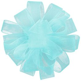 "Light Blue Sheer Ribbon Gift Bow, 4 5/8"", , large"