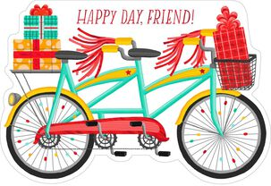 Bicycle Built for Two Birthday Card for Friend