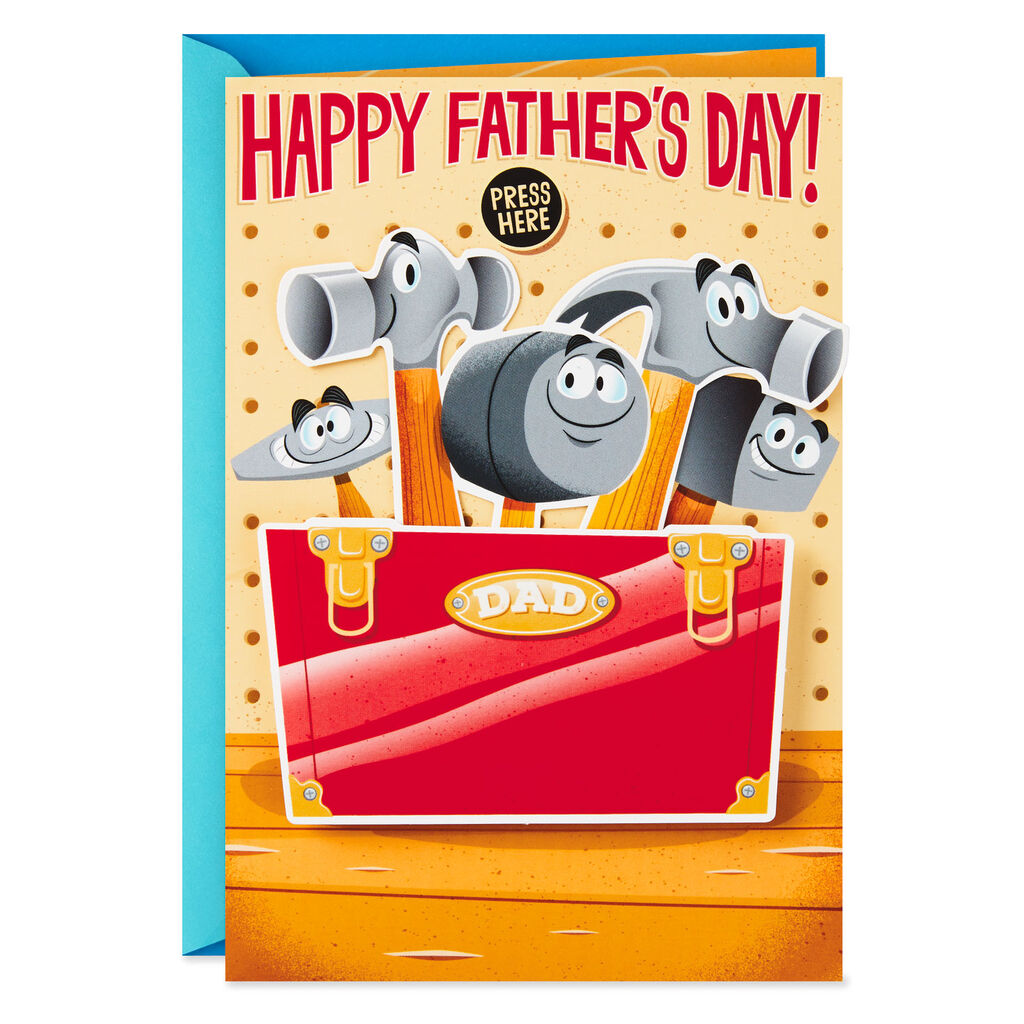 Hammers and Tool Box Funny Musical Father's Day Card With Motion