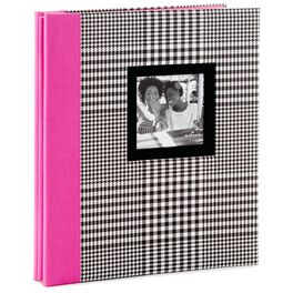 Black and White Plaid With Pink Spine Preppy Photo Album, , large