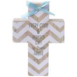 Baby Decorative Wood Cross With Blue Bow, , large