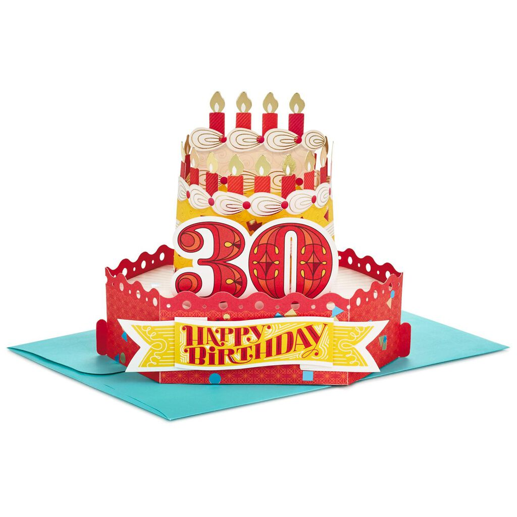 Celebrate With Cake Pop Up 30th Birthday Card