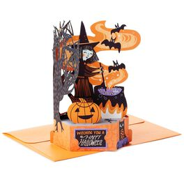 Witch and Cauldron Pop-up Halloween Card, , large