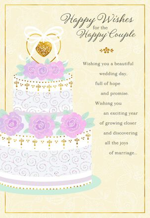 Hope and Promise Cake With Roses Wedding Card