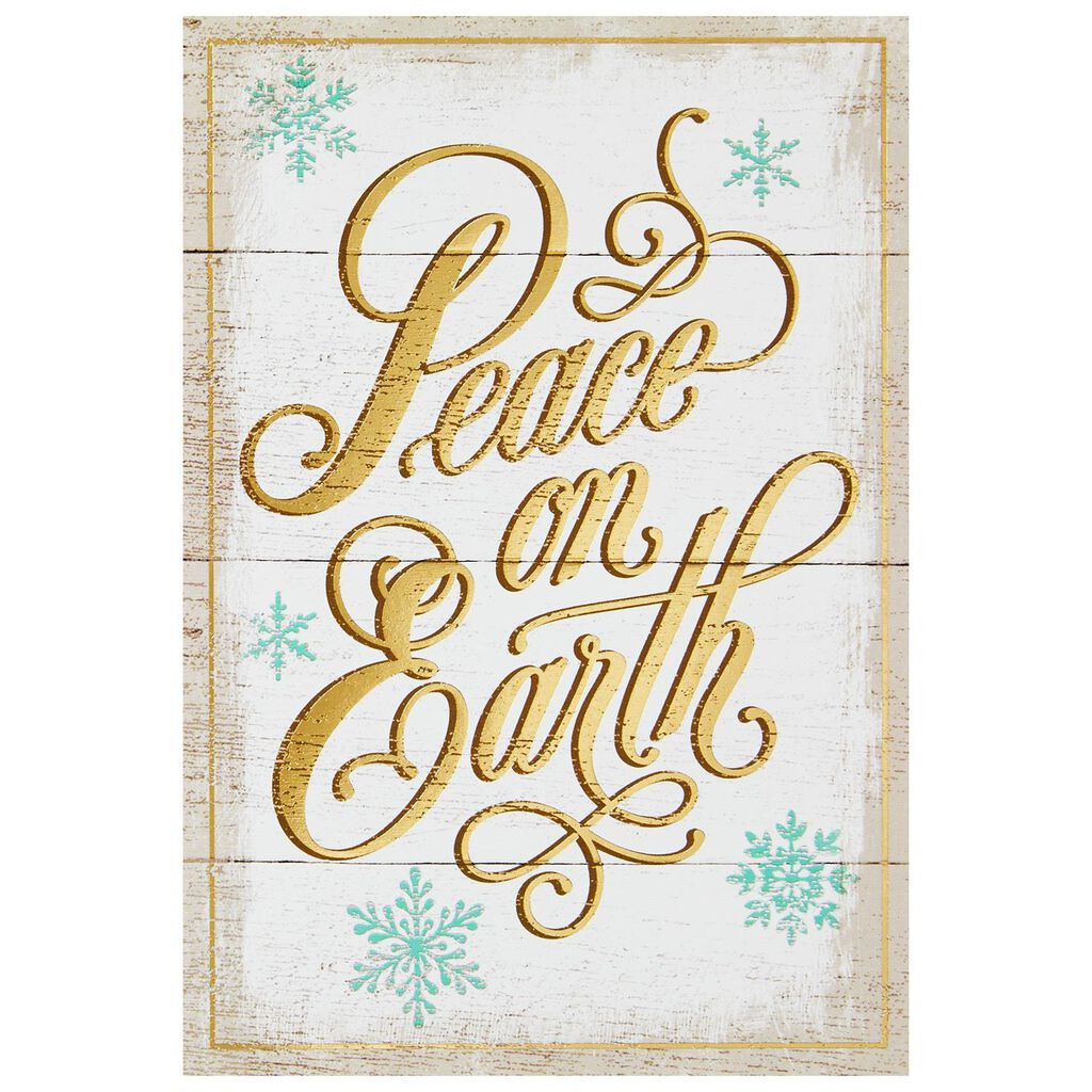 Peace on Earth Wooden Sign Christmas Cards, Box of 16 - Boxed Cards ...