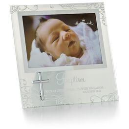 Baptism Glass Picture Frame With Cross, 4x6, , large