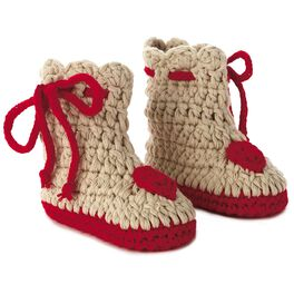 Heart Hand Knitted Baby Booties, 0-12 Months, , large
