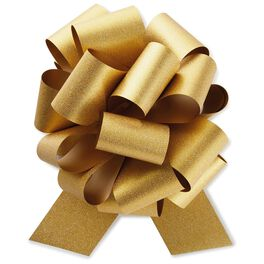 "Gold Super Glitter Pull Bow, 8"", , large"