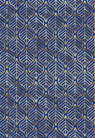 Gold Foil Leaf Pattern on Blue Blank Thinking of You Card