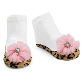 Mud Pie® Leopard Puff Baby Socks, , large