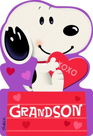 Peanuts® Snoopy on Doghouse First Valentine's Day Card for Grandson