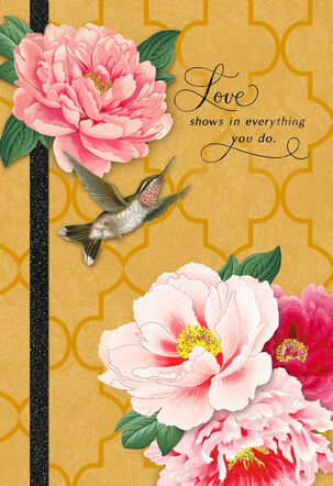 Hummingbird and Pink Flowers Mother's Day Card