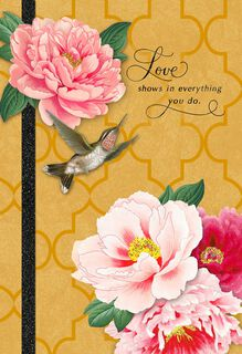 Hummingbird and Pink Flowers Mother's Day Card,