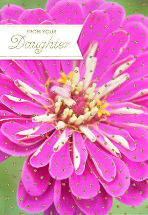 Pink Zinnia Mother's Day Card From Daughter