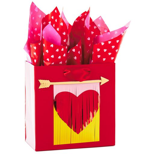 482f475c0776 Arrow and Heart Medium Square Valentine s Day Gift Bag With Tissue