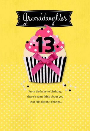 Pretty Cupcake 13th Birthday Card for Granddaughter