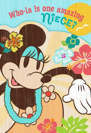 Luau Minnie Mouse Birthday Card for Niece