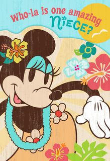 Luau Minnie Mouse Birthday Card for Niece,