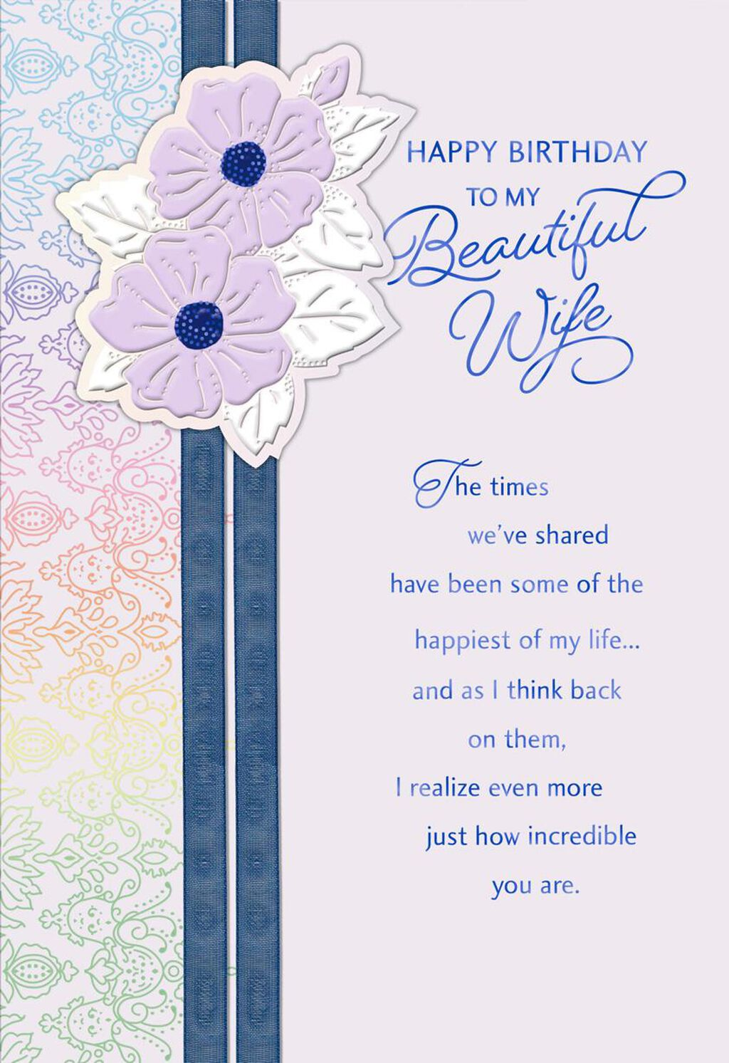 Youre Beautiful And Wonderful Birthday Card For Wife Greeting