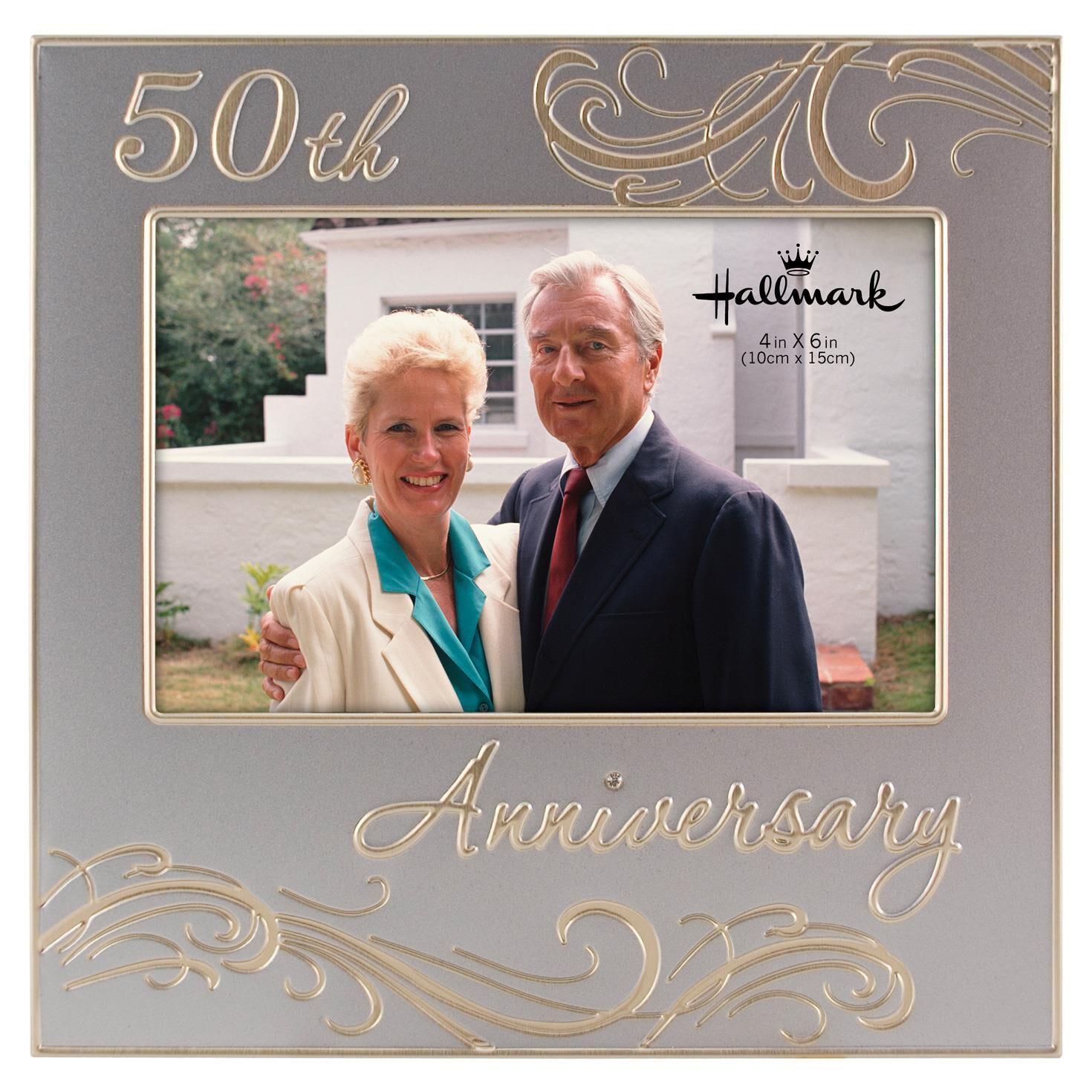 50th anniversary silver metal photo frame 4x6 picture frames hallmark