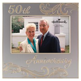 50th anniversary silver metal photo frame 4x6 large