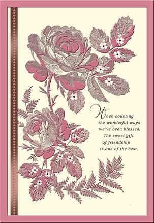 Pink Roses on Ivory Friend Birthday Card