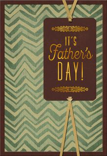Gold and Green Chevron Father's Day Card,