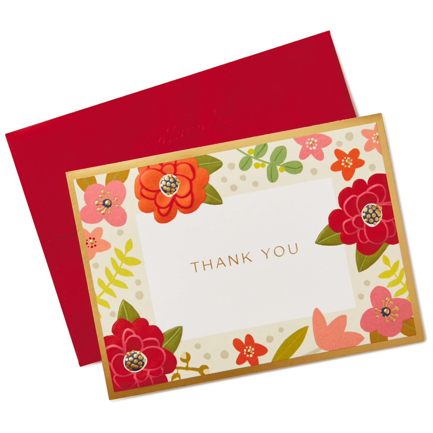 Winter Flowers Blank Thank You Notes Pack of 10 Note Cards