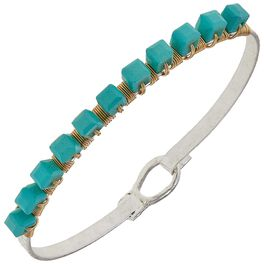 Aqua Beaded Bangle Bracelet, , large