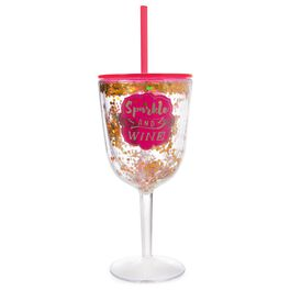 """Sparkle and Wine"" Double Wall Wine Glass, 13 oz., , large"