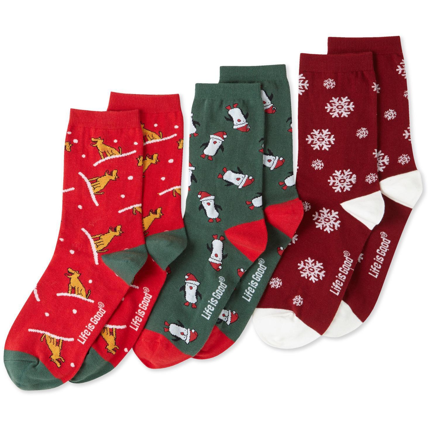 Life is Good Women s Holiday Crew Socks Set of 3 Socks & Shoes