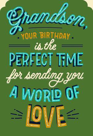 World of Love Birthday Card for Grandson