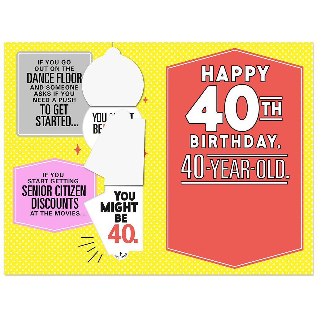 Funny 40th Birthday Card You Just Might Be Forty