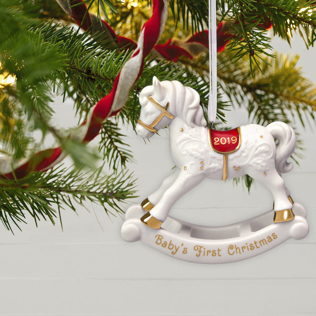 Christmas Horse Pictures.Baby S First Christmas Rocking Horse Porcelain Ornament