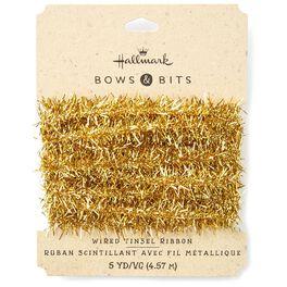 Gold Tinsel Ribbon, 5 yds., , large