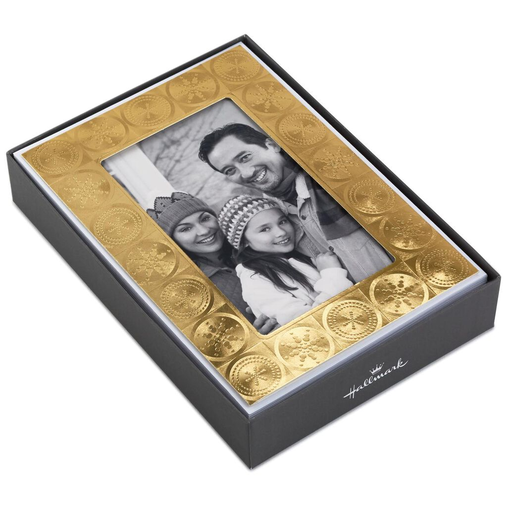 Gold Foil Dots and Circles Photo Holder Christmas Cards, Box of 12 ...