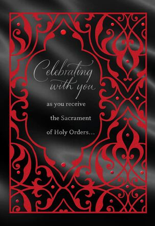 Red and Black Joining the Ministry Congratulations Card