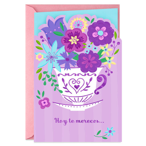 Teacup Bouquet Spanish Language Mothers Day Card
