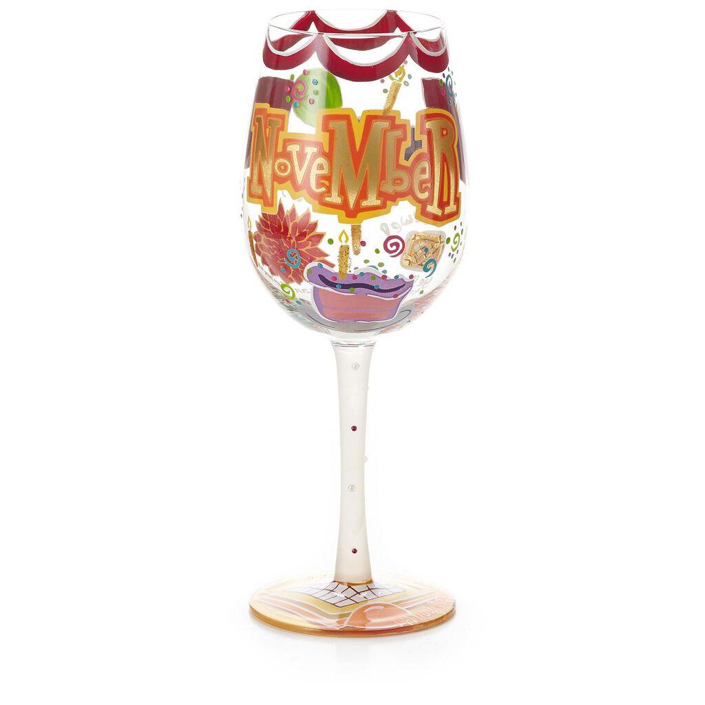 LolitaR November Happy Birthday Handpainted Wine Glass 15 Oz